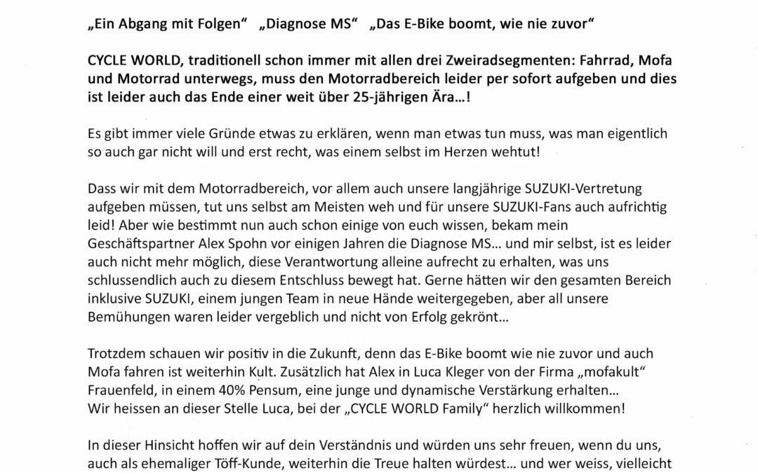 CYCLE WORLD GmbH im Wandel der Zeit…..